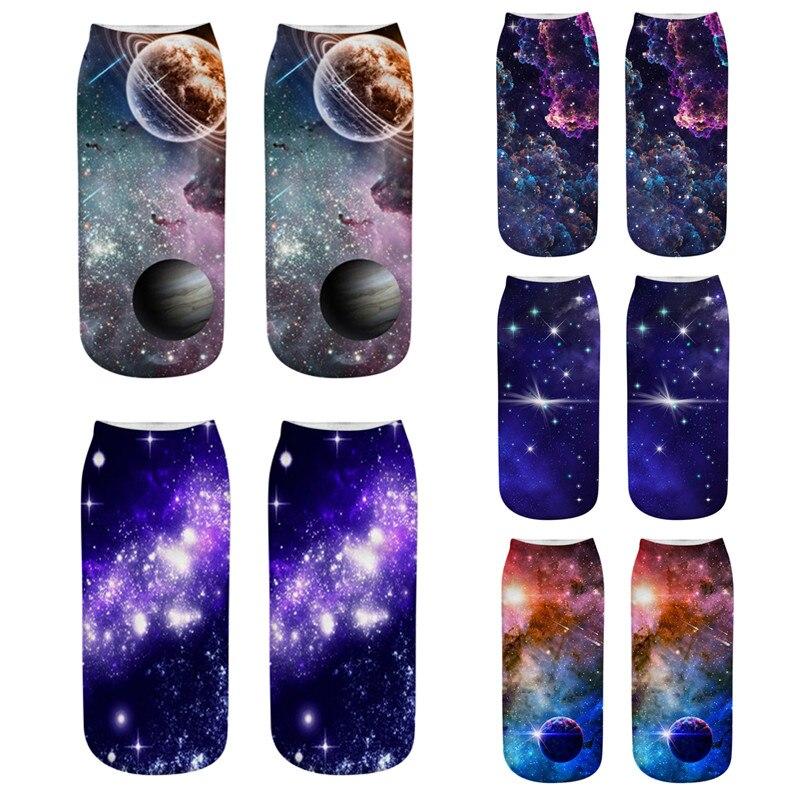 Nuevo Starry Sky Series 3D Calcetines marca mujer Calcetines moda niñas bajo corte tobillo calcetín alta calidad arte femenino Calcetines cortos Sox
