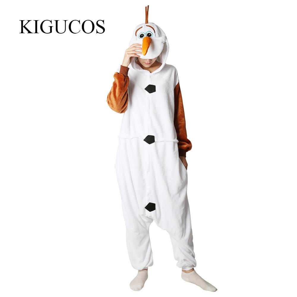 KIGUCOS personaje de dibujos animados caliente disfraz de OLAF hombres y mujeres invierno cálido pijama de muñeco de nieve
