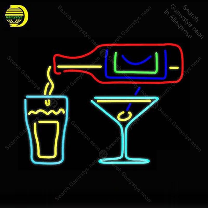 علامة نيون داخلية لزجاجة الكوكتيلات ، زجاج ، بيرة ، بار ، حانة ، مطعم ، صناعة يدوية ، علامة نيون للبيع