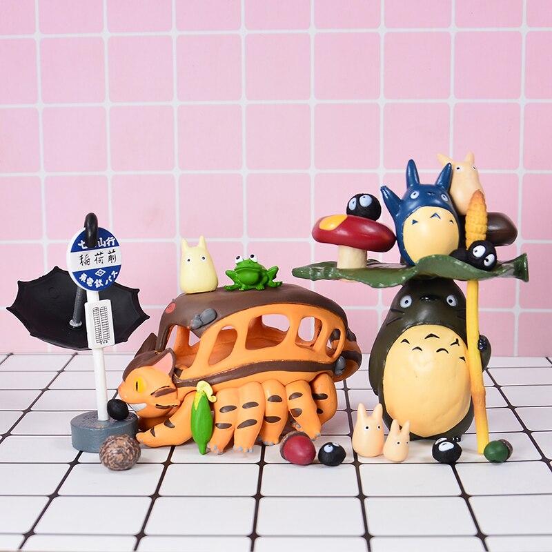 Figuras de acción de ThinkEasy, autobús de gato decorado con mi pequeño vecino Totoro, poni, unicornio, muñecas de vinilo