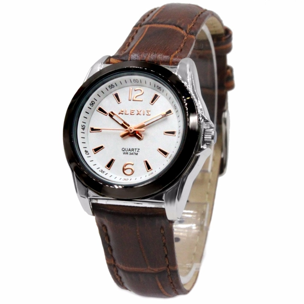 Alexis Women Analog Quartz Round Watch Japan Miyota Movement Brown Geninue Leather Strap White Dial Water Resistant