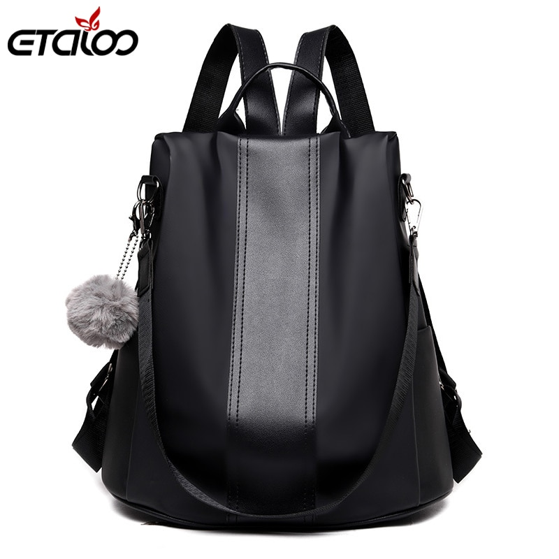 2018 design women black pu leather backpack high quality casual large capacity backpacks for school travel bag for women High Quality PU Leather Women Backpack Fashion School Bags For Teenager Girls Casual Women Black Backpacks