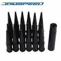 JDMSPEED 24 PCS Black Spike Lug Nuts 14x1.5 w/ Key Fits For Chevy Silverado Tahoe 4.4 Tall