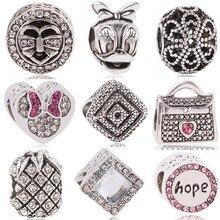 Novo vintage punk pequena maçã cão árvore amor corações flores contas caber pandora encantos pulseiras & pulseiras para as mulheres moda diy