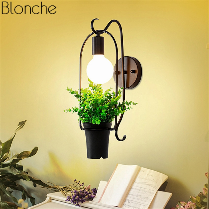 Lámpara de pared de planta de estilo nórdico, aplique de pared LED con flores, luces de Metal para sala de estar, restaurante, cafetería, cocina, accesorios de iluminación para interiores, decoración