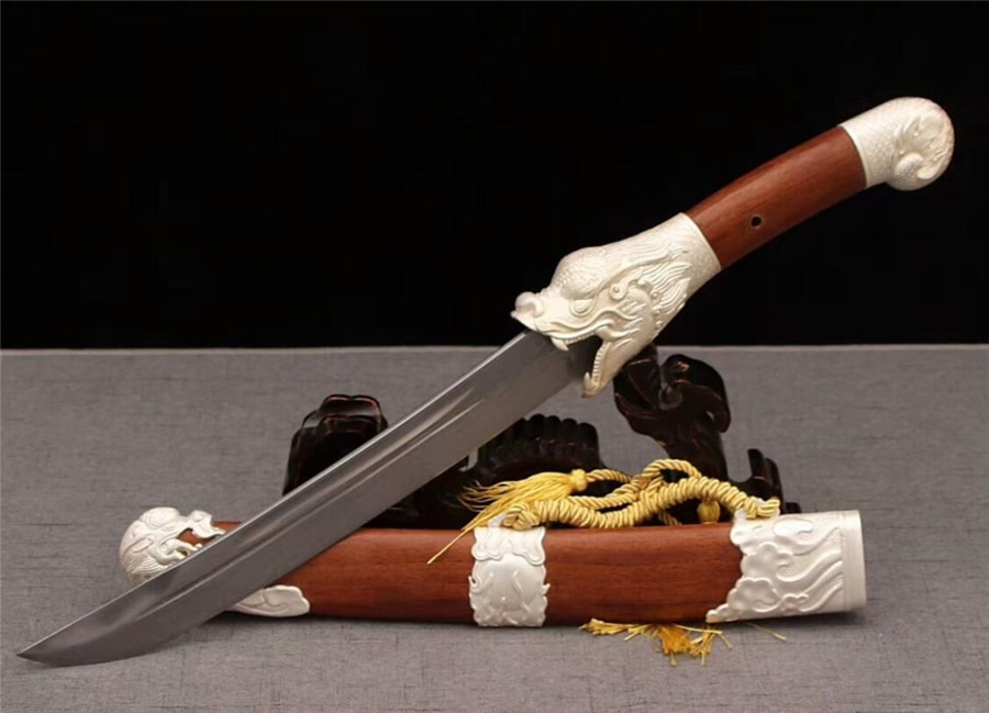 Cuchillo de caza de alta calidad, espada corta Dao, espada afilada de acero damasco Dragon Dao