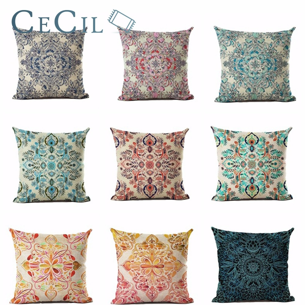 Bohemian Cotton Linen Cushion Cover Decorative Pillowcase Chair Seat Waist Square 45x45 Home Living Throw Pillow Cover Cojines
