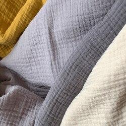 Natural 100% algodão duplo enrugamento gaze voile tecido 135 cm largura 130 gsm bebê costura tecido 320 metros pequeno atacado cd04a