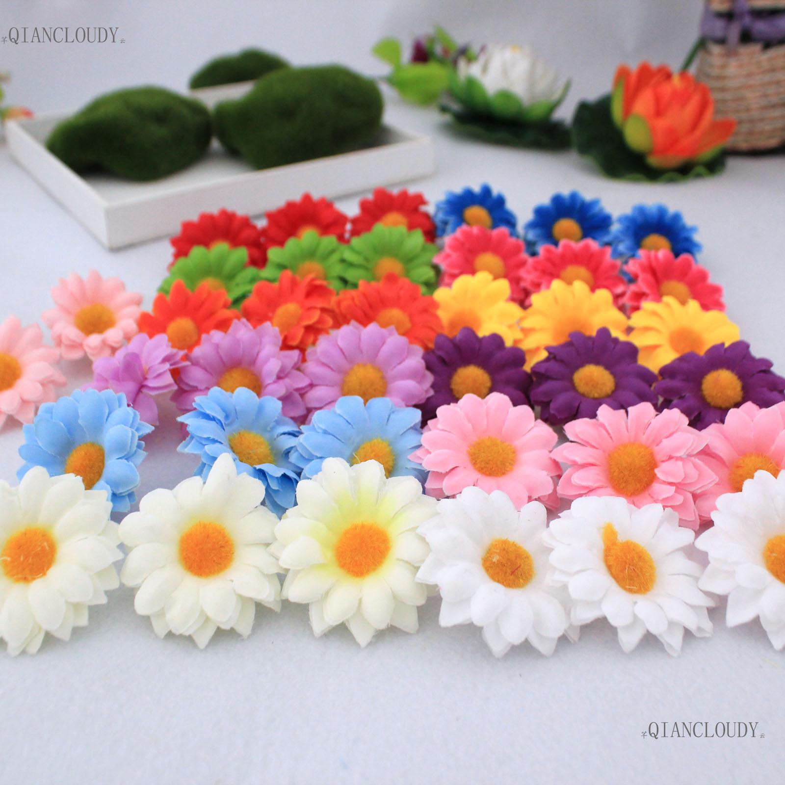 100 unidades 5cm, Gerbera, Margarita, seda Artificial, cabezas de flores, girasol, pinza para el pelo, Bola de decoración para bodas, flores artesanales falsas A25