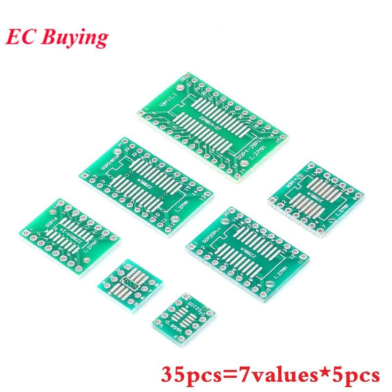 35 Uds 7 Valor * 5 uds placa PCB Kit SMD que adaptador DIP convertidor placa SOP MSOP SSOP TSSOP SOT23 8 10 14 16 20 24 28 SMT DIP