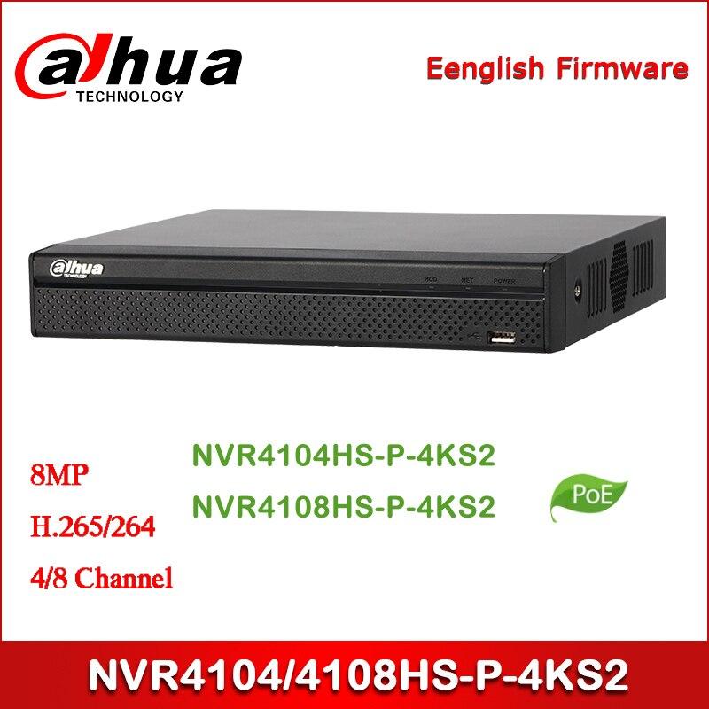 Dahua POE NVR NVR4104HS-P-4KS2 NVR4108HS-P-4KS2 4/8 Channel Compact 1U 4PoE 4K&H.265 Lite Network Video Recorder
