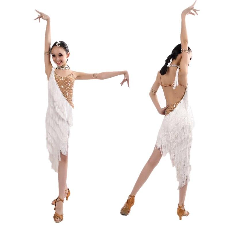 فستان رقص لاتيني احترافي ، أنيق ، مع شرابات بيضاء ، لمسابقات المسرح ، Samba/Chacha/Salsa/Ballroom