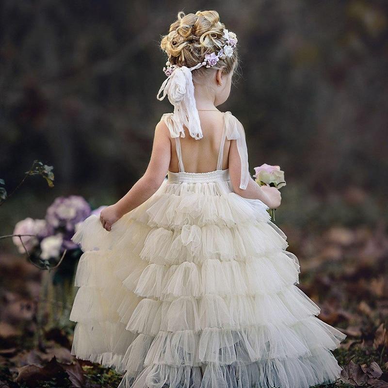 New Arrivals Little Girls Dresses Sleeveless Straps Open Back Tulle Holy First Communion Dresses Flower Girls Gowns Beach Dress enlarge
