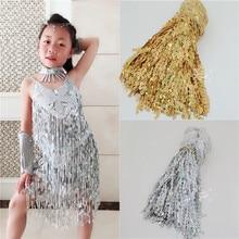 Sequins Tassel Fringe Trim Gold Silver AB for Latin Samba Dress sew on 15cm 20cm 30cm 40cm wide you pick