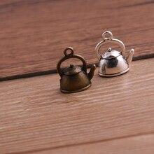 10 pièces 10*17*19mm 3D bouilloire breloques théière pendentif deux couleurs bricolage rétro bijoux Bracelet collier pendentif à breloques