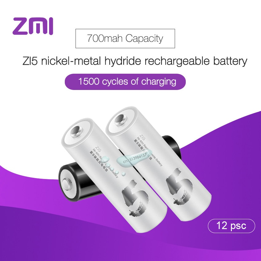 12 pcs/lot Xiaomi batterie Rechargeable AA 1800 mAh 1.2 V Ni-MH ZMI ZI5 chargeur portatif batterie pour télécommande voiture jouets