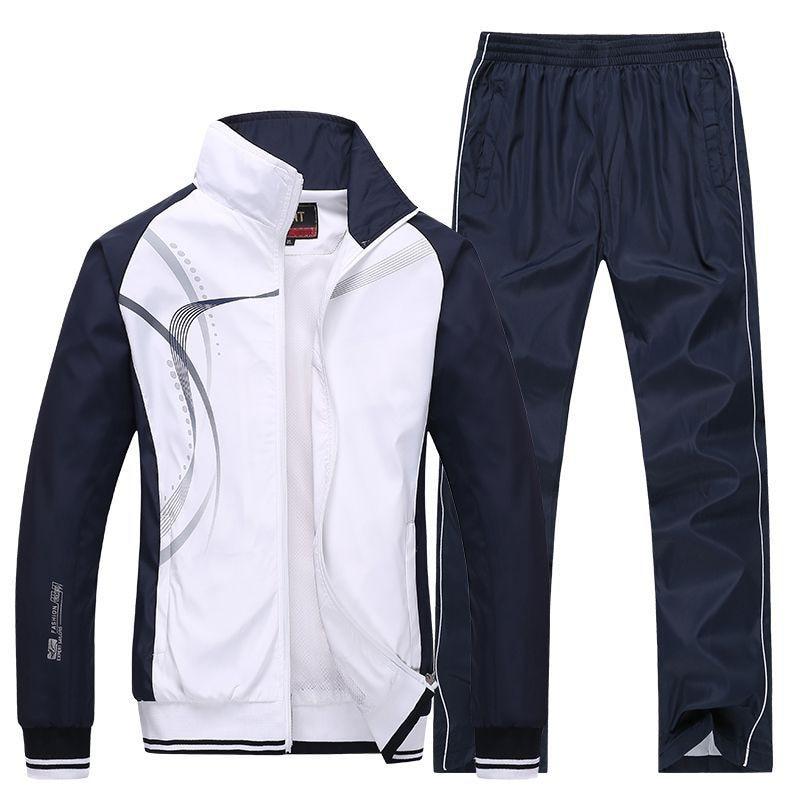 Men Sportswear New Spring Autumn Tracksuit 2 Piece Sets Sports Suit Jacket+Pant Sweatsuit Male Fashion Print Clothing Size L-5XL