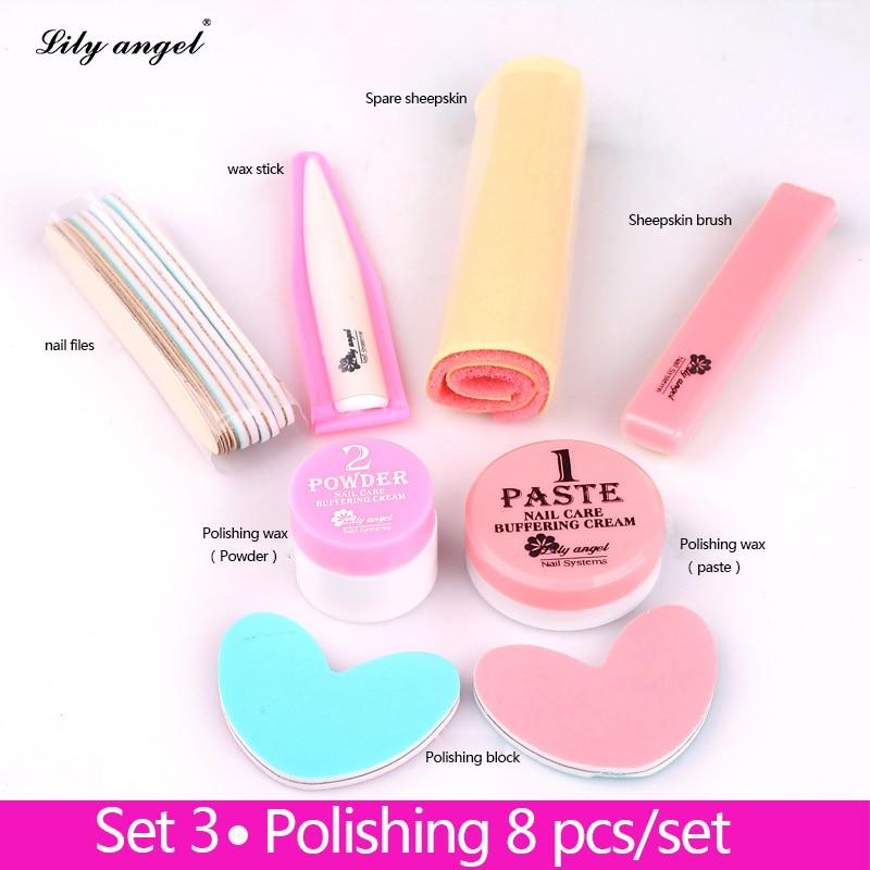 Nail Conditioner & care 8Pcs Nail Polishing Wax Nail Manicure Luster Buffing Paste nail Buffer Full Sets&Kits of nail files Z25