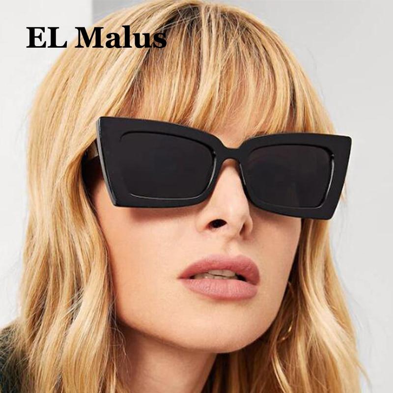 [EL Malus], diseñador de marca, Gafas de sol con montura cuadrada de las mujeres mujer plata reflectante lente rosa rojo tonos Gafas de sol Gafas