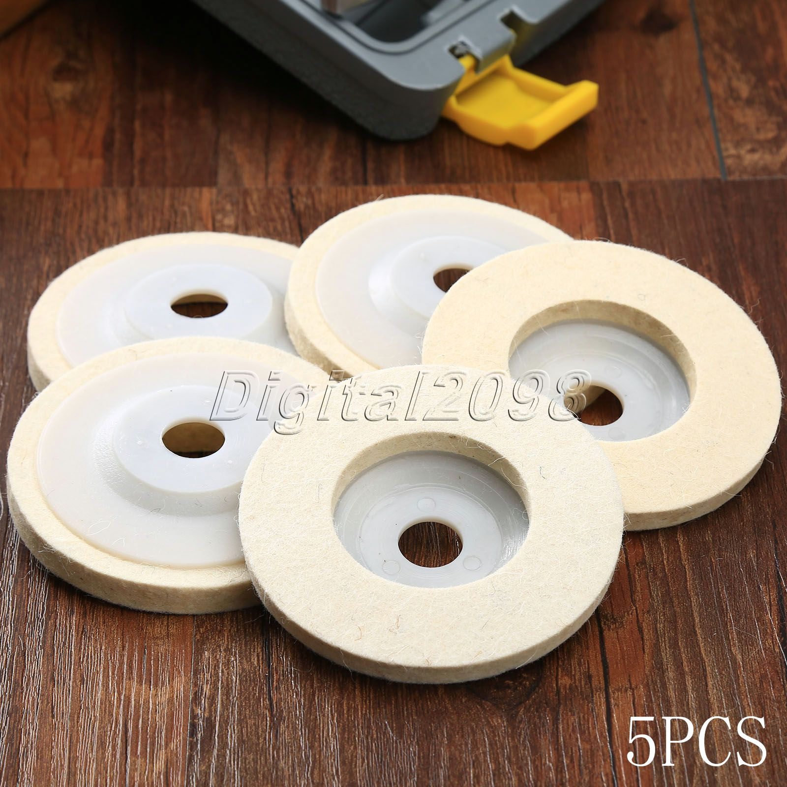 Yetaha 5Pcs 4 inch Round Polishing Wheel Pad Wool Felt Buffing Polishers Pads Dia 100mm Pearl Cloth Buffing Pads