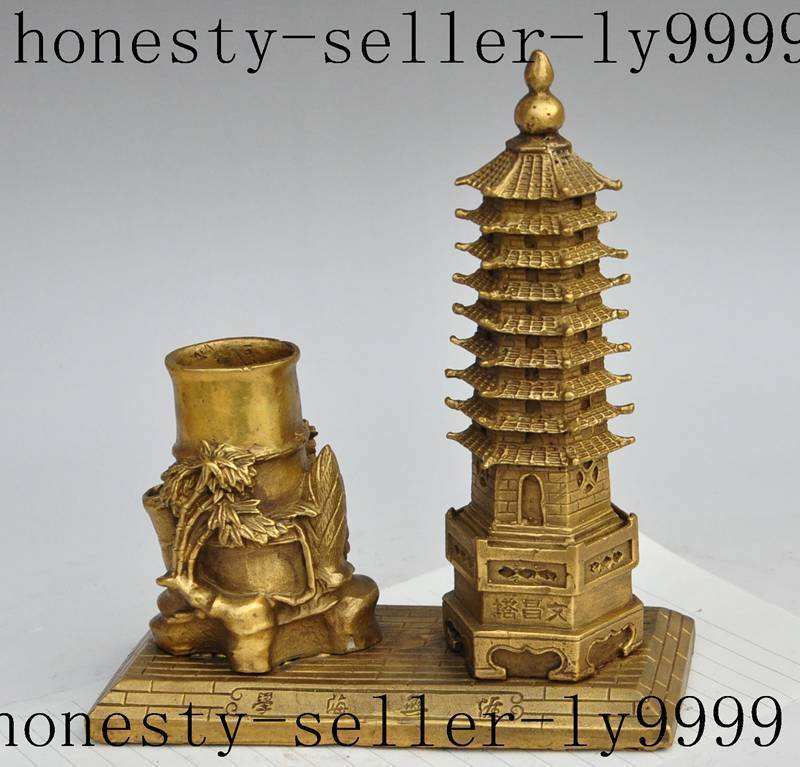 chinese brass flower Tower Onward and upward statue Brush Pot pencil vase