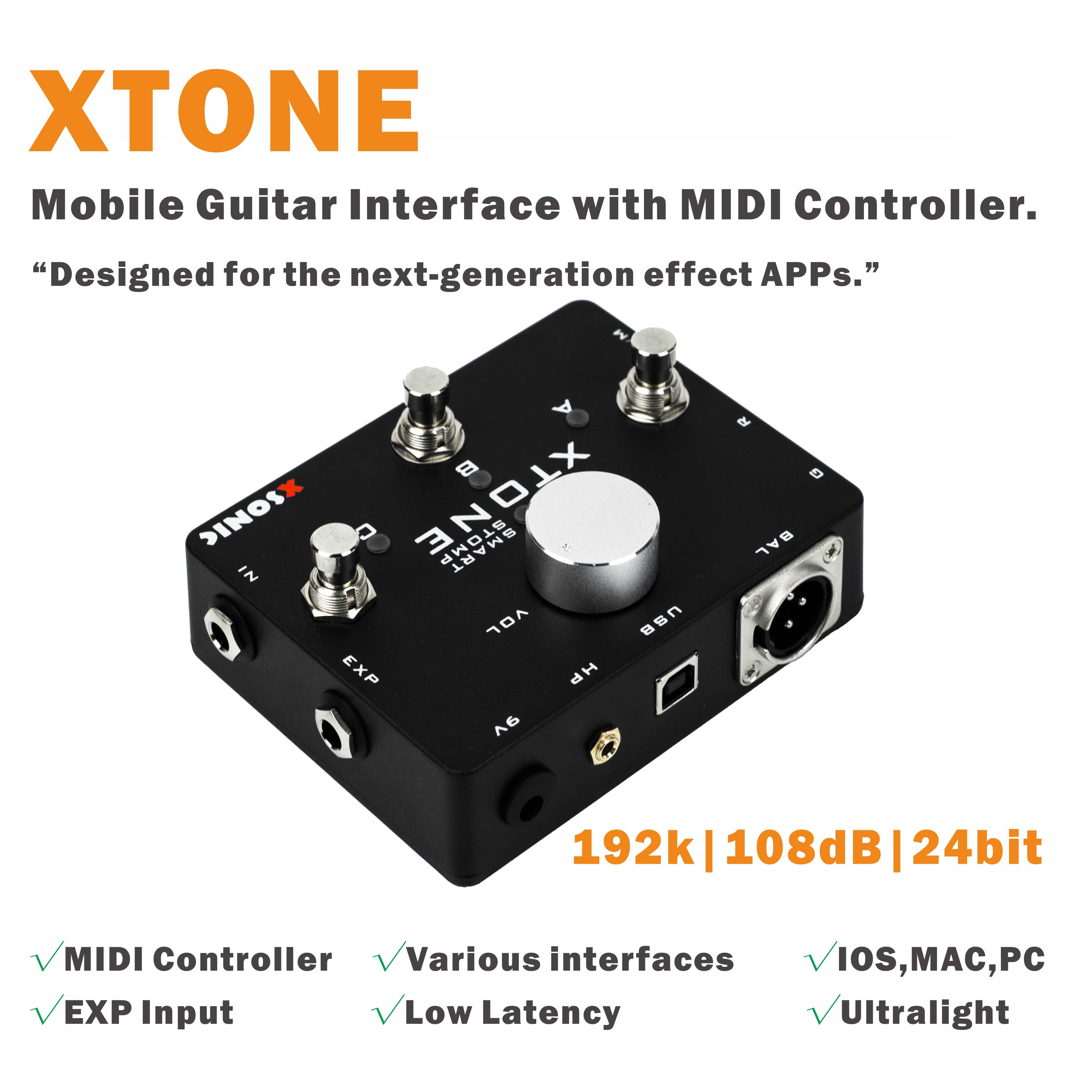 XTONE 192K Mobile Guitar Interface With MIDI Controller for iphone/ipad/PC/MAC & Ultra Low Latency enlarge