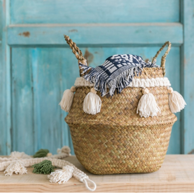 Decoración de macramé cesta de mimbre jardín maceta estudio habitación canasta de ratán para almacenamiento hogar organizador cesta