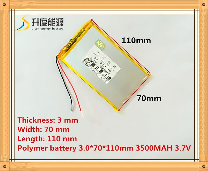 A bateria do íon do lítio do polímero da bateria 3.7 v 3500 mah 3070110 da tabuleta/bateria do li-íon para a bateria do pc da tabuleta