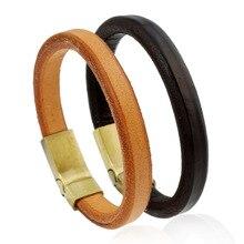 2017 Simple Rock Brown Genuine Leather Bracelets & Bangle Punk Cuff Bracelets Men Jewelry For Male Boys Metal Magnetic Clasp