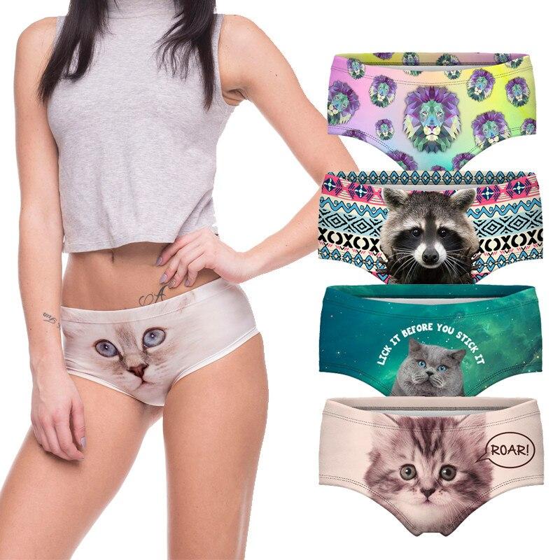 ¡Venta al por mayor! bragas sexis 2018 de algodón con estampado de gato rosa en 3d, bragas para mujer, bragas sin costura, ropa interior, lencería para mujer