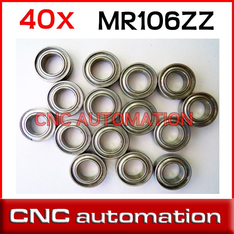 Rodamiento de bolas en miniatura MR106ZZ 40 piezas MR106 MR106Z rodamientos de bolas de ranura profunda de pared fina 6*10*3mm radial del eje