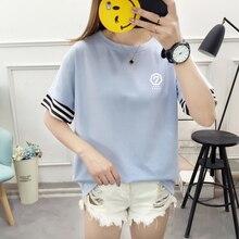 Got7 Got 7 New Summer Korean Womens Tee Shirt Harajuku Streetwear Ulzzang Letter Print Patchwork Short-sleeved Tops Female