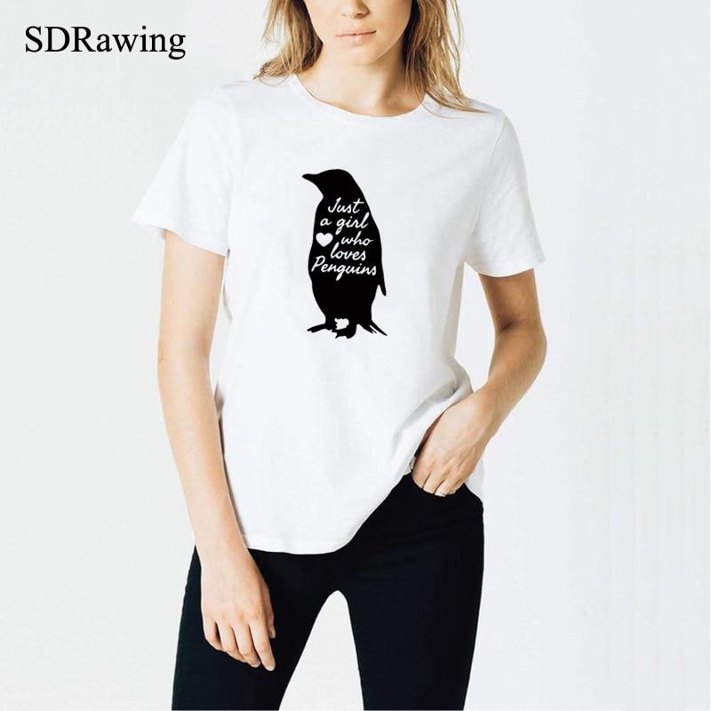 Pinguim camisa presente do pinguim animal zoológico aquário presente pinguim amante impressão apenas uma menina que ama pinguins t camisa feminina camisetas topos