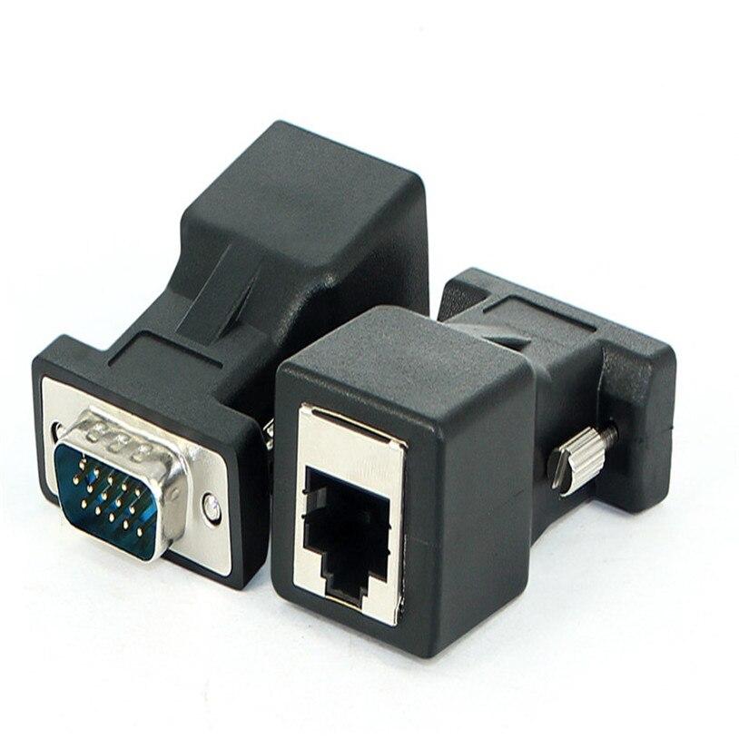 Mosunx-extensor VGA macho hembra a LAN RJ45 CAT5 CAT6, adaptador de Cable...