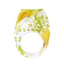 Joyería hecha a mano, anillo de resina de cristal geométrico con flores de crisantemo, anillos con banda para el dedo para regalo de boda de la novia
