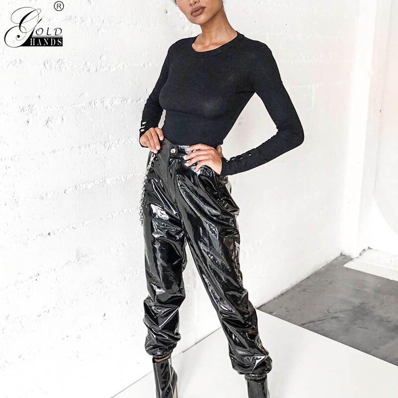 As mãos de ouro das mulheres escovado cintura alta calças de couro do plutônio preto leggings feminino shinny harem calças elásticas roupas femininas