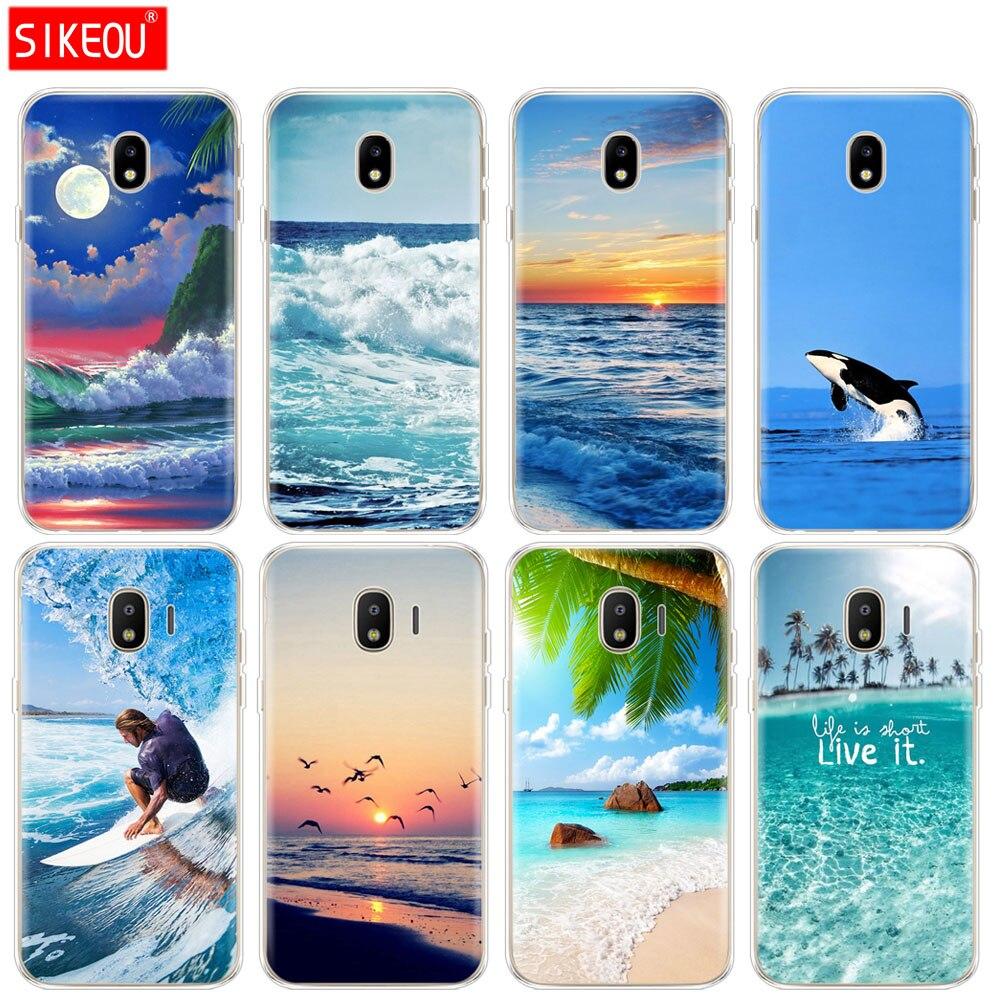 Silicone case capa do telefone para Samsung Galaxy J3 J5 J7 2017 J330 J530 J730 PRO j2 2018 onda do mar sol conjunto lua