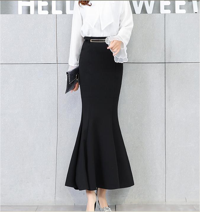 2018 spring Vintage Black Long Mermaid Skirt Women Elegant package hip trumpet Skirts With Free Belt plus size 2XL