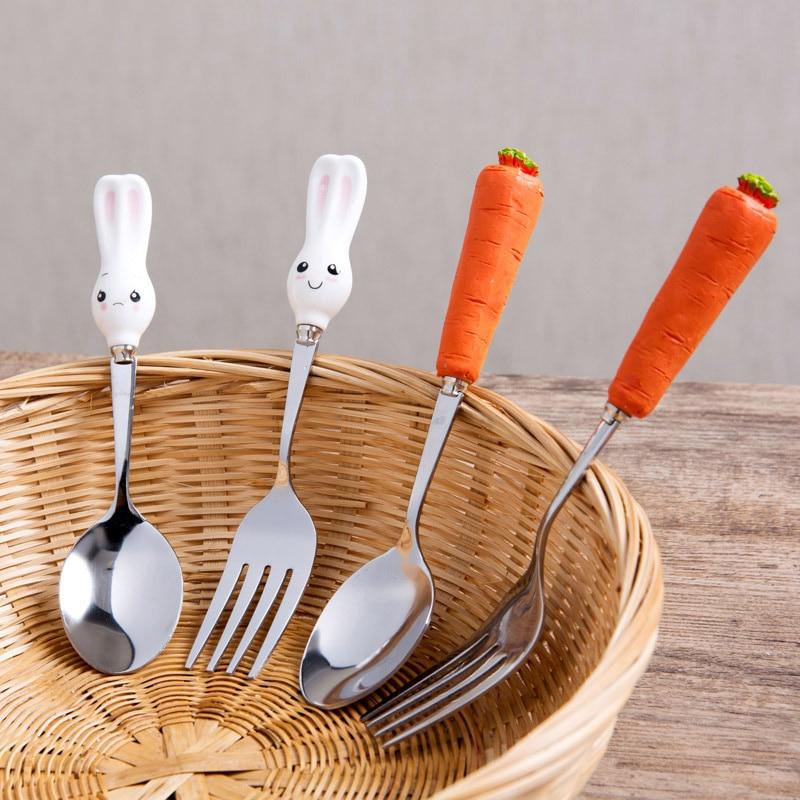2pcs Cartoon Dinnerware Sets Rabbit Spoon Carrot Fork Stainless Steel Tableware Sets Tea Coffee Teaspoons Kids Children Baby