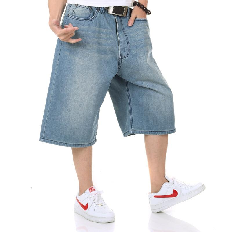 2019 nuevos pantalones vaqueros de tiro medio de gran tamaño para hombre verano azul claro pantalones cortos para hombre sueltos 5 puntos pantalones cortos tamaño 30-38 40 42 44 46