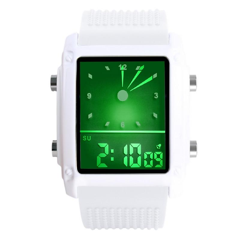 Nuevos relojes digitales Led de moda para hombre, relojes deportivos de doble horario, relojes digitales analógicos, coloridos relojes luminosos con luz de fondo Unisex