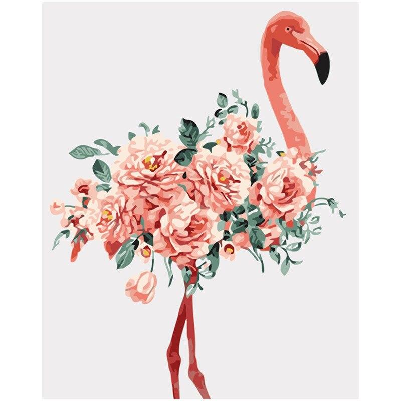 Peinture par numéros bricolage   40x50 50x65cm, belle pivoine, Animal flamingo, toile de décoration de mariage, image artistique, cadeau idéal