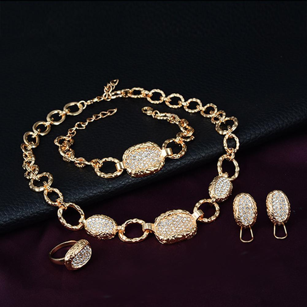 Conjuntos de joyería para mujeres color dorado collar redondo pendientes conjunto de anillo y pulsera vestido de boda regalo de joyas de fiesta mamá