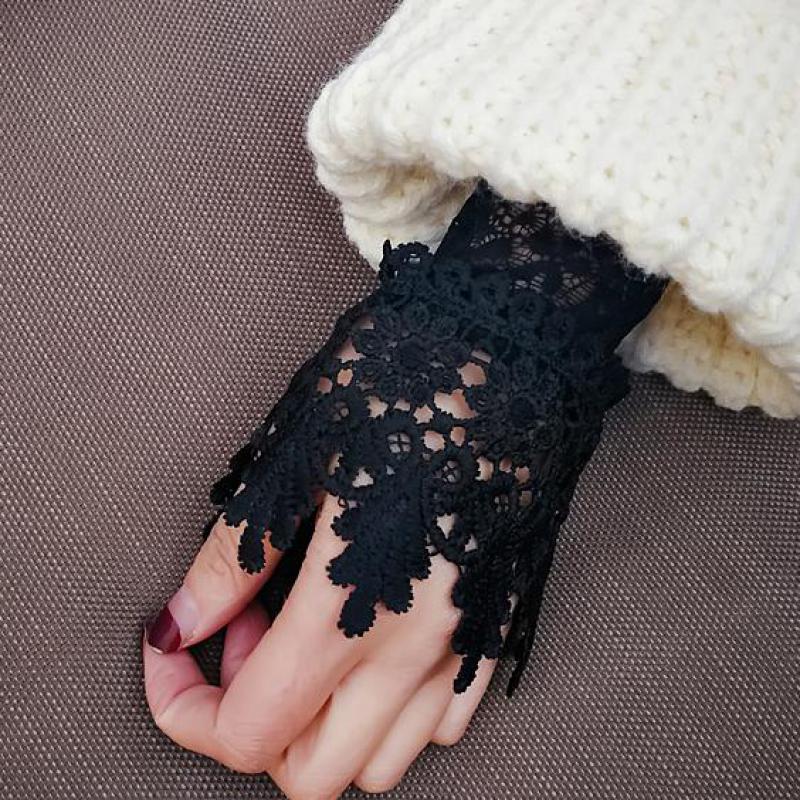 Koreanische 2018 Neue Schöne Göttin Elegante Spitze Arm Wärmer Frauen Handschuhe Zubehör Schwarz Weiß Manschette Gefälschte Arm Ärmeln AGB653A