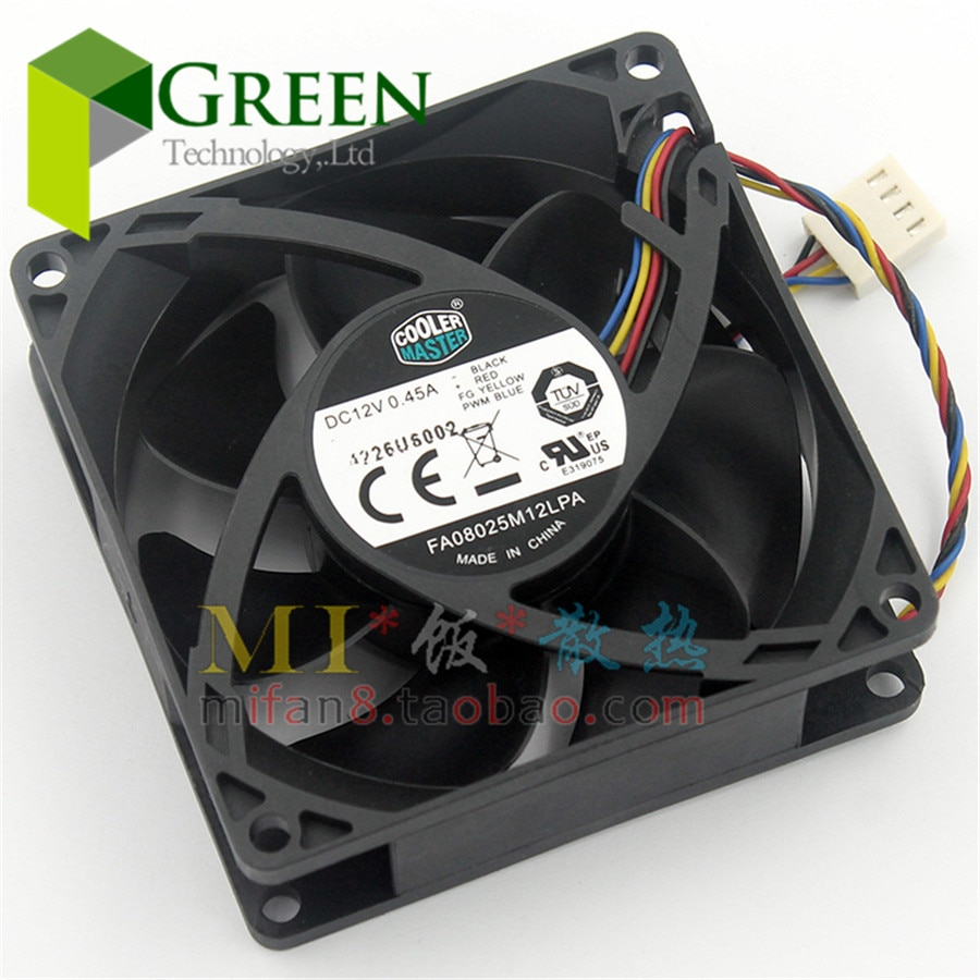 4pin pwm fan connector turbo fan utral thin 29mm cooling fan for 1u server cpu cooler computer components 5pcs The original Cooler Master FA08025M12LPA 8025 80MM 8cm  Computer case CPU Cooling fan 12V  0.45A  fan with PWM 4pin