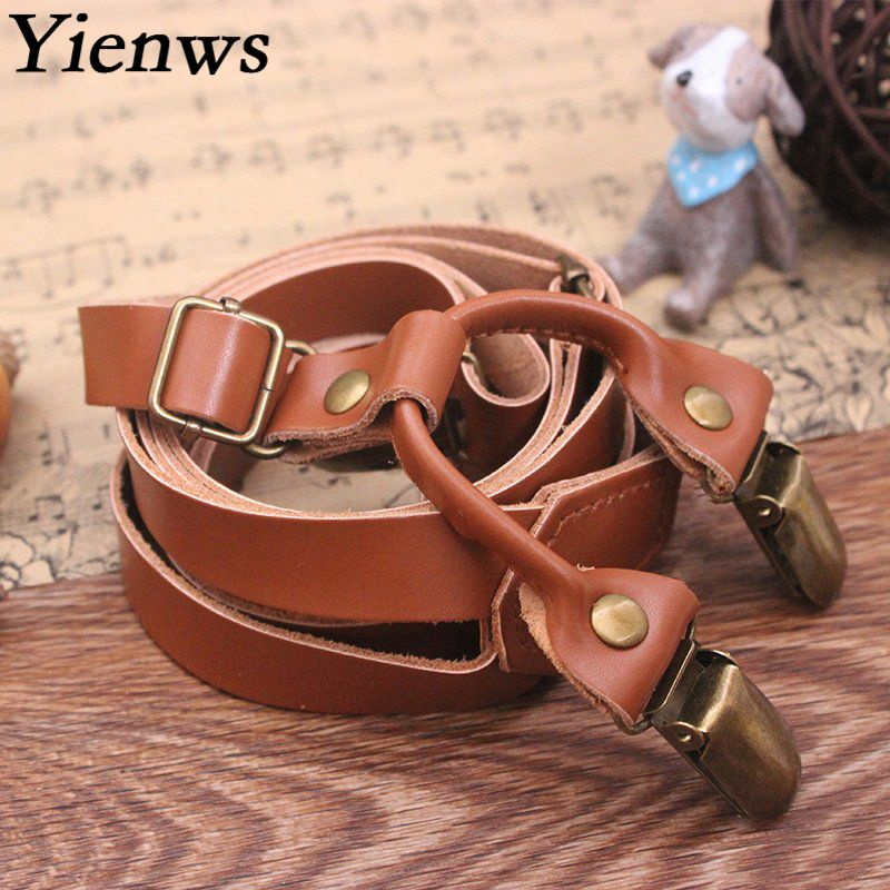 Yienws Genuine Leather Suspenders for Men Women Brown Vintage with 4 Clip Bronze Pants Bretelles YiA150