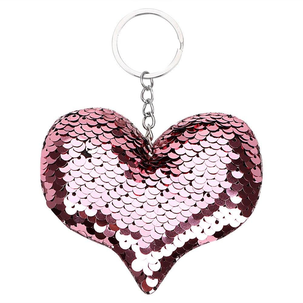 Leepee glitter chaveiro do carro acessórios do carro chaveiro coração lantejoulas chaveiro moda auto chaveiro feminino bolsa pingente