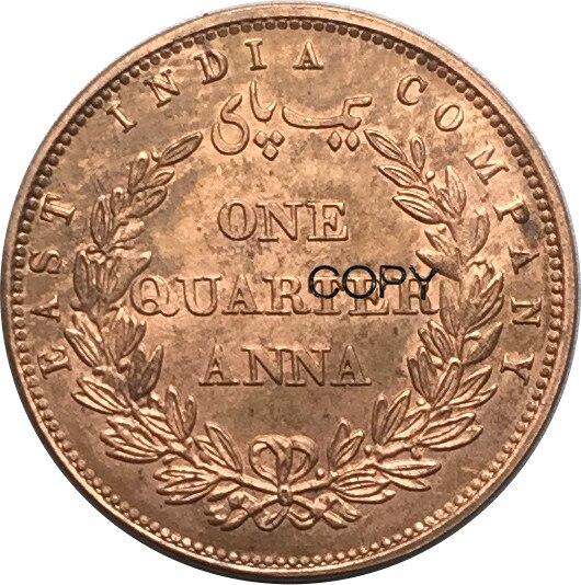 Leste Empresa India Britânico 1858 Cobre Vermelho Anna 1/4 Moedas de Cópia de Um Quarto Pode Receber Personalizado