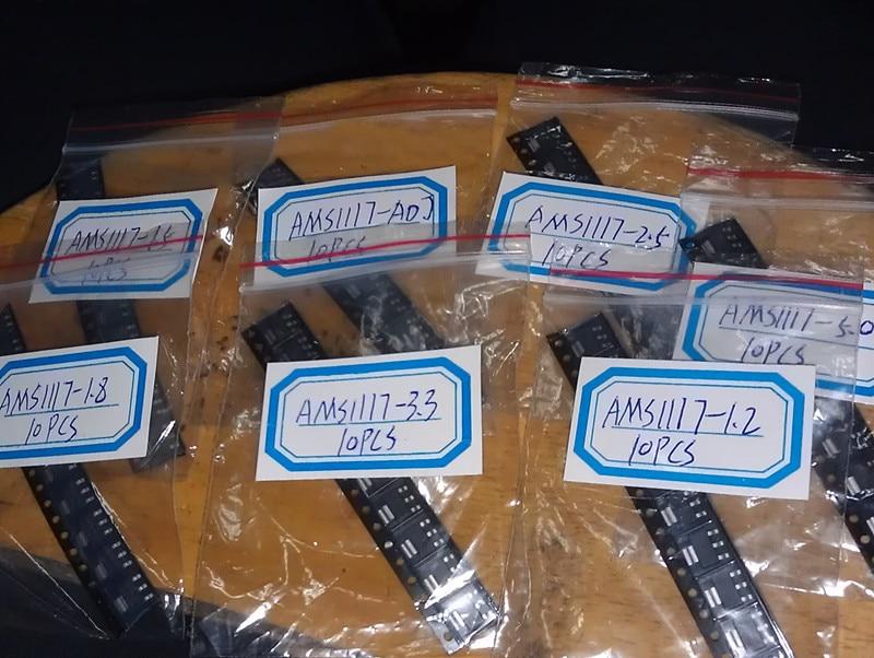 70PC AMS1117 series Kit AMS1117-3.3V AMS1117-ADJ 3.3V/1.5V/1.8V/2.5V/1.2V/5V/ADJ 7model*10pc