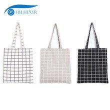 Hylhexyr клетчатая хлопковая Упаковка для продуктов, тканевые сумки, многоразовая простая сумка на плечо, сумка-тоут, сумка для покупок, школьные книги, сумка для путешествий